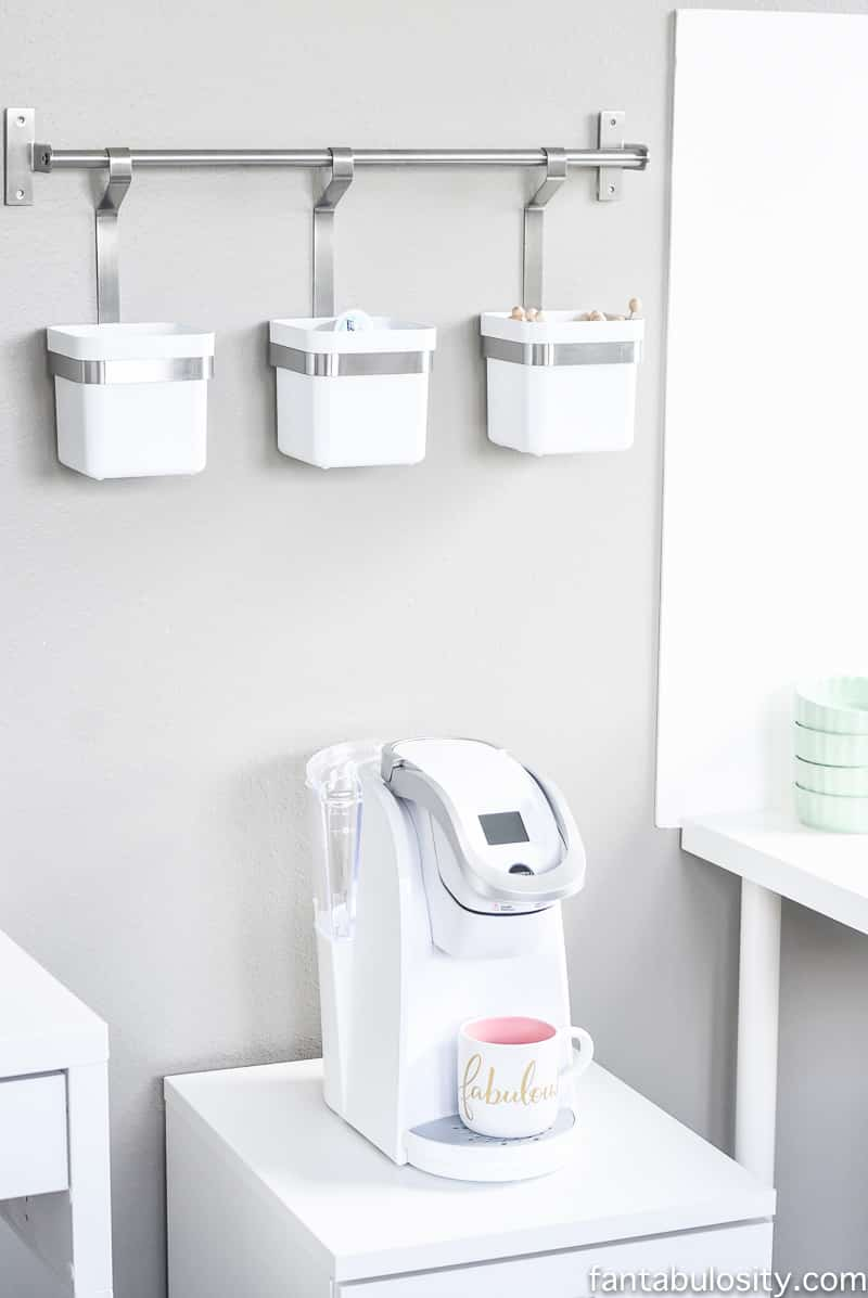 Her own coffee station!!!!! In her new office reveal. A white keurig!! Love that.