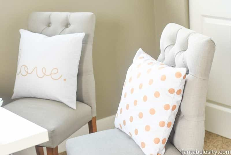 Office chairs in home office: gold mint coral. love that color combo. so chic!