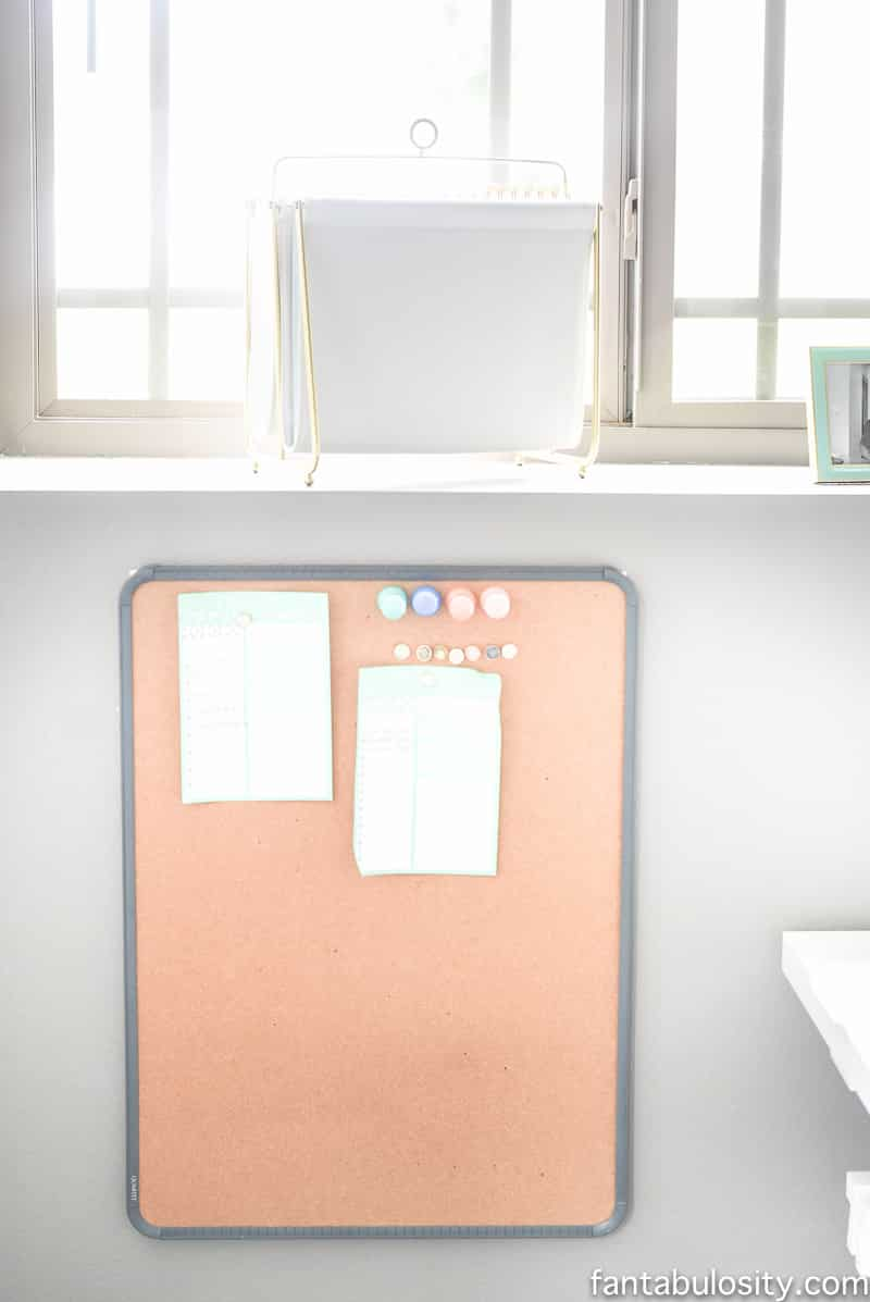 Board in home office, to keep right by her desk. Soooo perfect.