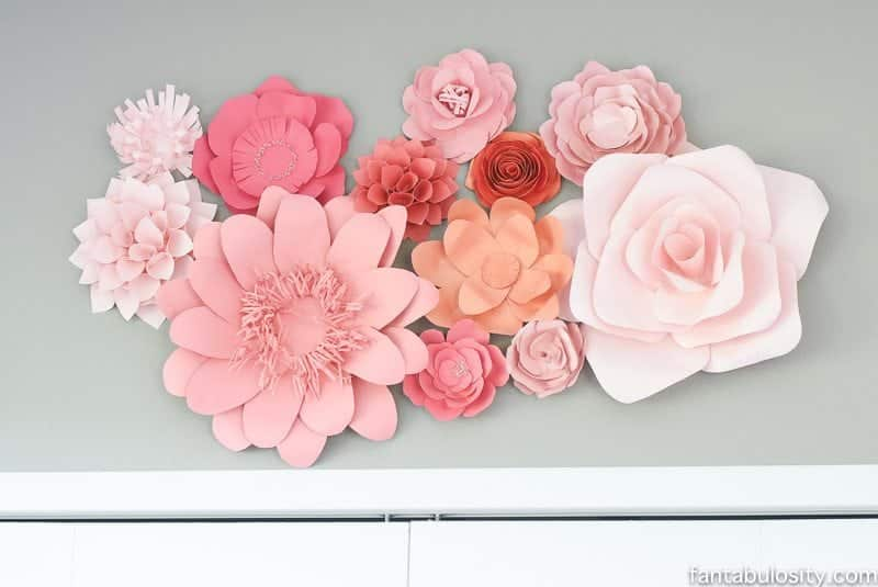 Paper flowers for wall decor in home office