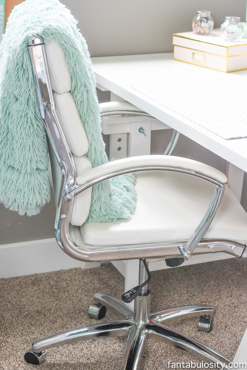 Office chair in her home office reveal