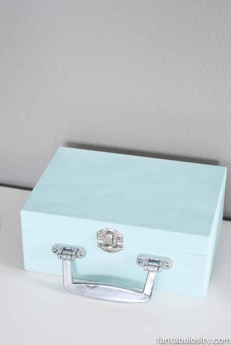 Wooden box to hold silhouette pens, cutters, etc. for her craft studio in her new home office reveal