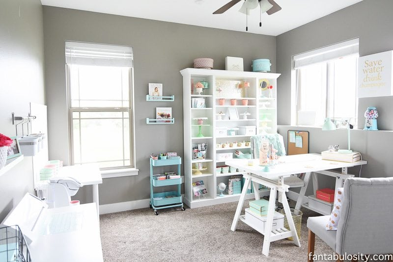 Chic Office - Coral and Mint, for the Girl Boss! IKEA finds, and full of craft room & home office ideas
