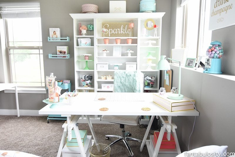 Home office desk from IKEA, love how she put these pieces together.