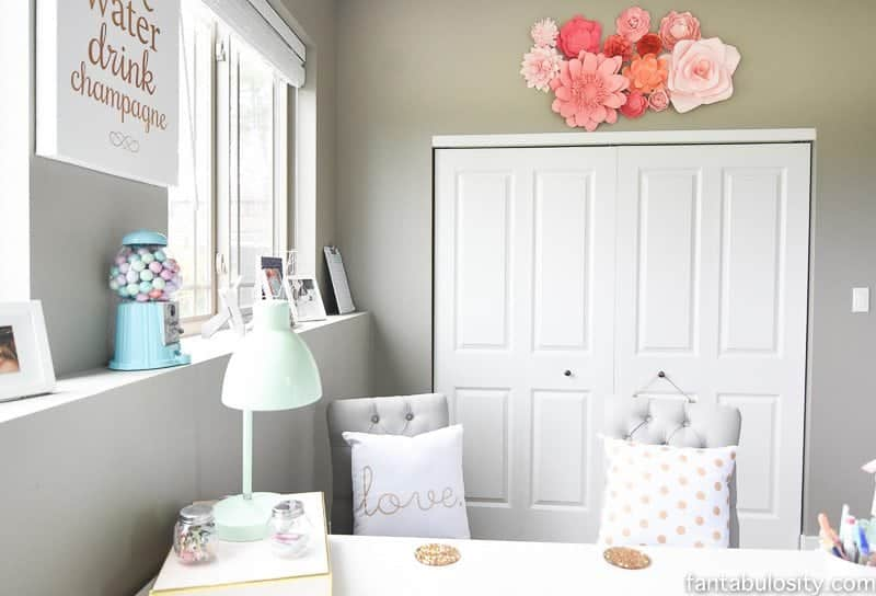 Home office Remodel Reveal: Mint coral and gold. So chic!