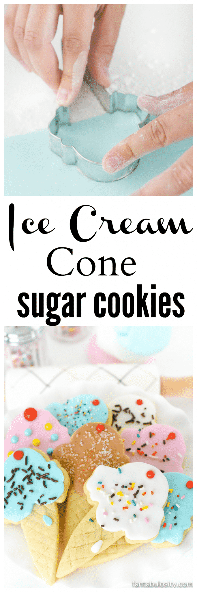OMG these are SOOO cute! Ice cream cone sugar cookies! Using fondant instead of icing is so much easier!