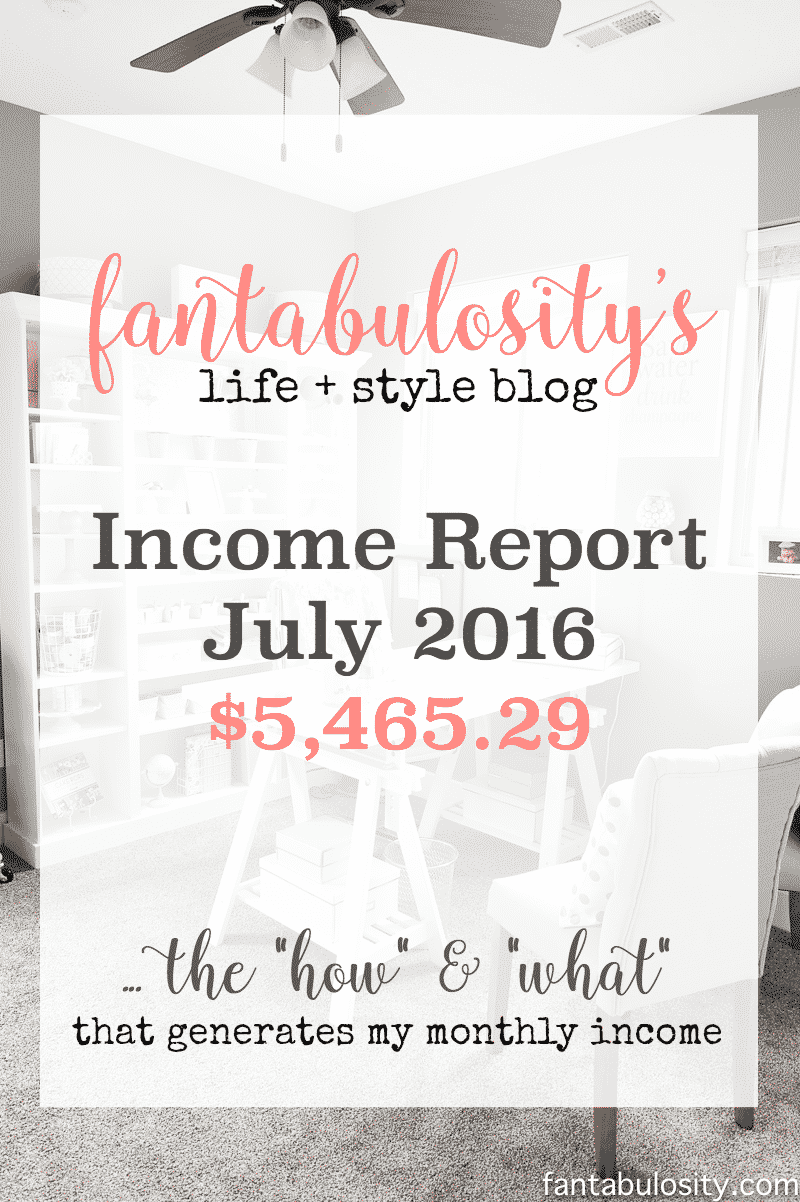 Fantabulosity's Blog Income Report July 2016