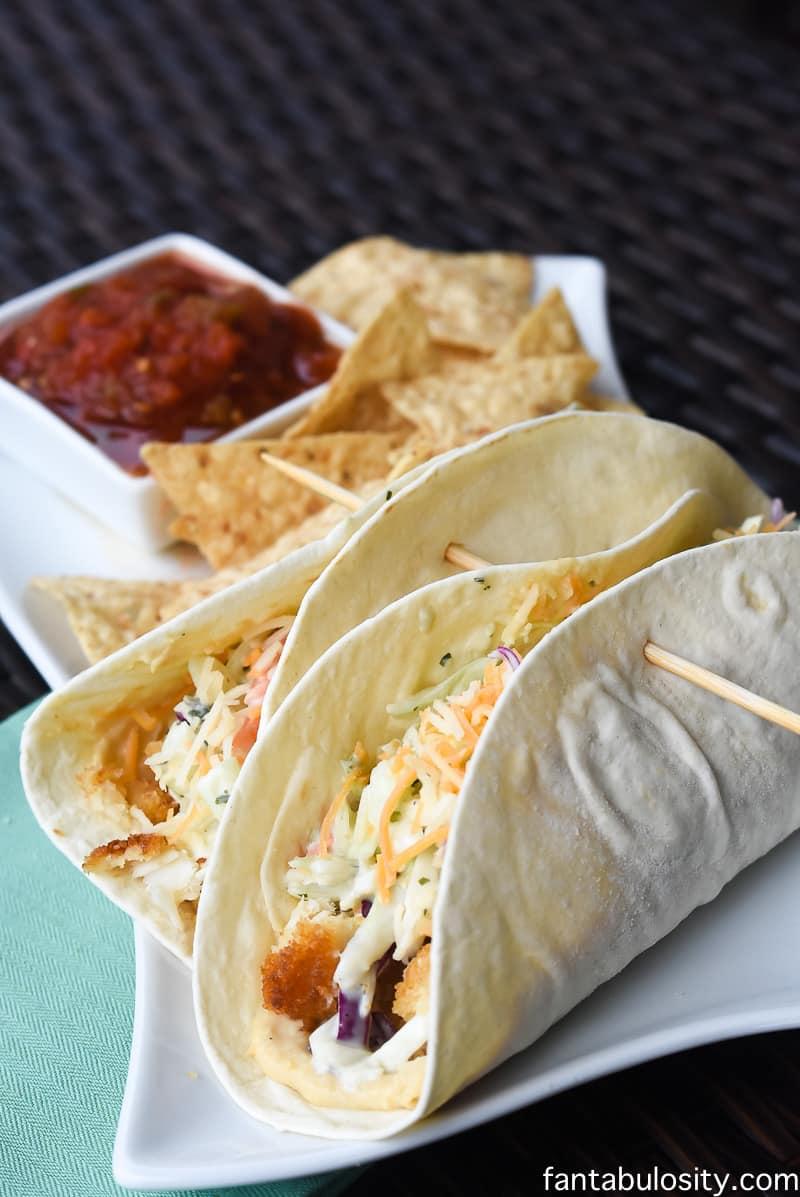 Cilantro Avocado + Hummus Fish Tacos