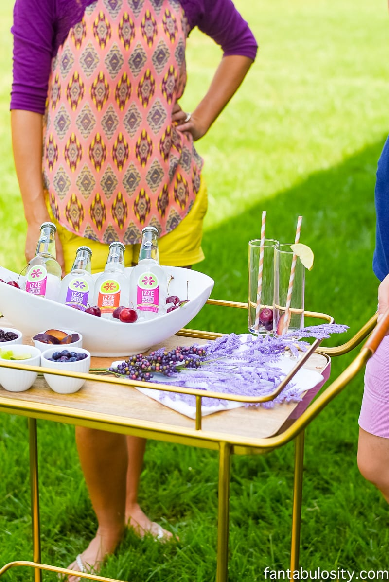 Drink Bar Cart with IZZE drinks. So colorful and pretty! Fantabulosity