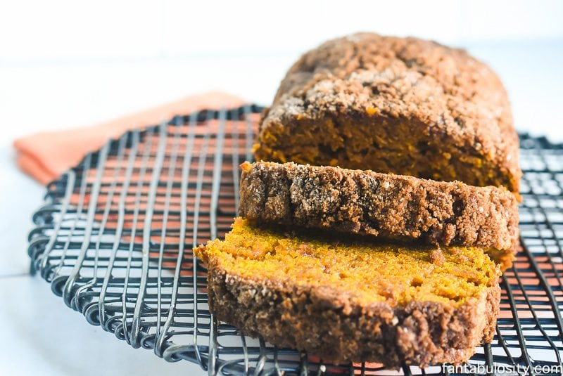 Cream Cheese Toffee Pumpkin Bread - Made with Coconut Oil