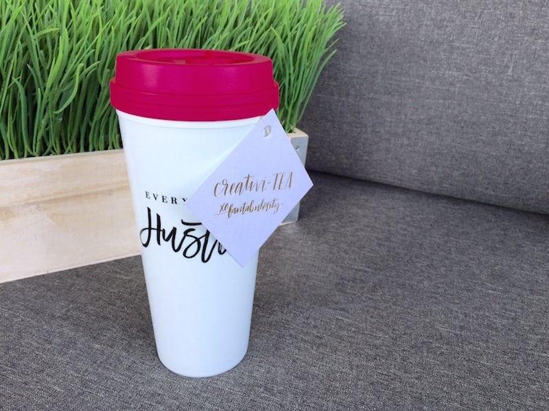 """""""Creativi-TEA"""" gift idea with a travel mug"""