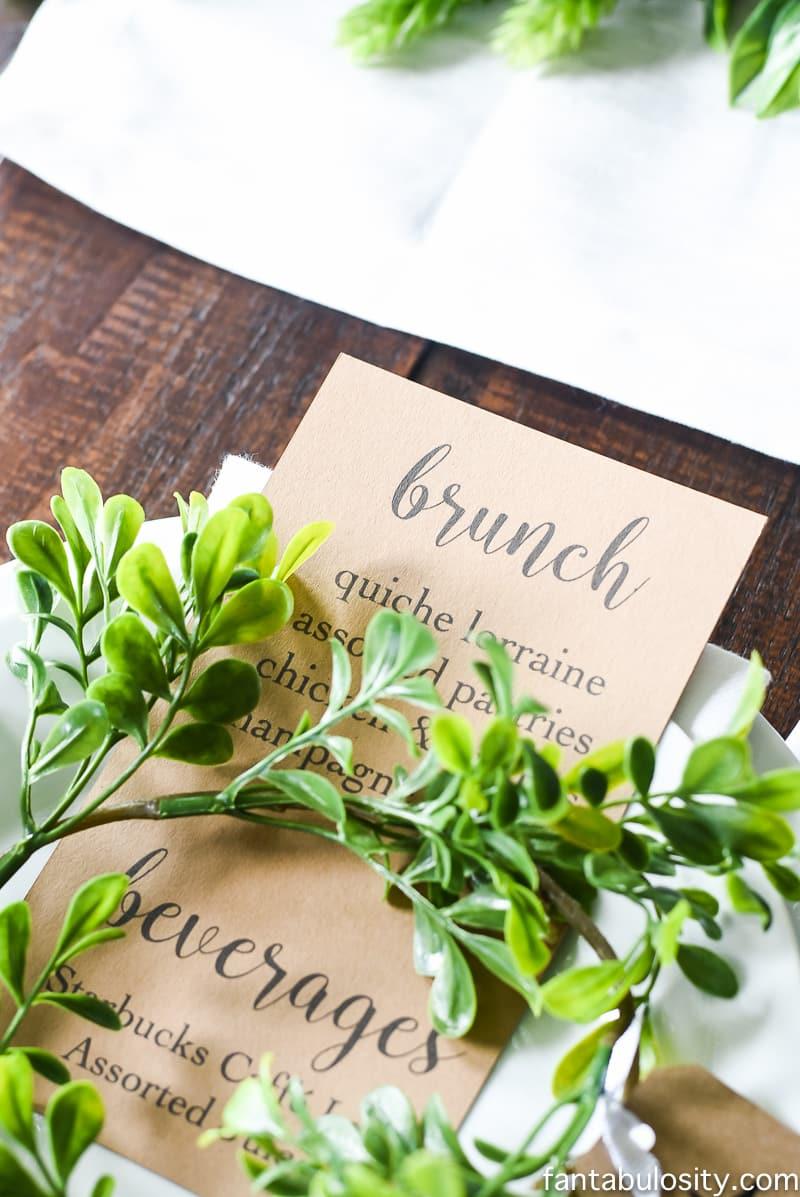 Brunch Menu Ideas for a brunch party place setting