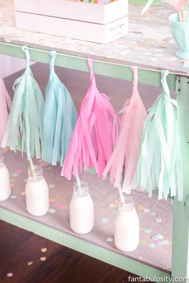 Ice Cream Party Ideas: Pastel Colors, ice cream cookies, cones with sprinkles, and this tassel banner! OMG.