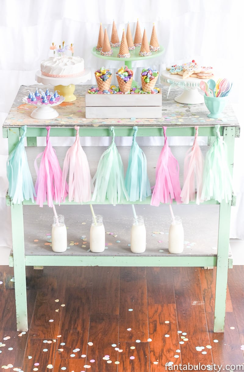 Ice Cream Party Ideas: Pastel Colors, ice cream cookies, cones with sprinkles,