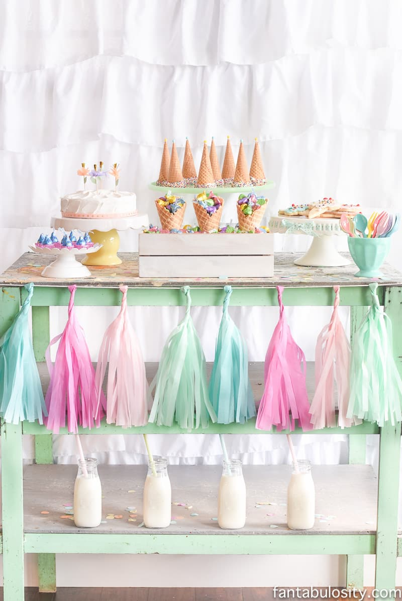 Ice Cream Party Ideas: Pastel Colors, ice cream cookies, cones with sprinkles, and so many more!
