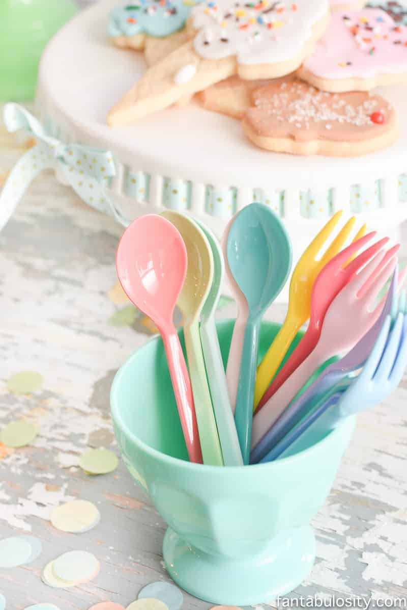 Ice Cream Party Ideas: Pastel Colors, ice cream cookies, cones with sprinkles, and this SILVERWARE! Omg.