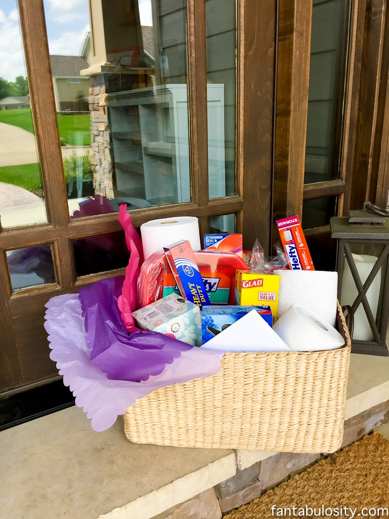 Sympathy Gift Ideas: This is so smart! Sending necessities to those who've recently lost someone, so they don't have to worry about having things on hand for guests. Sympathy Gift Basket Idea for bereavement, grieving, funeral, and condolence.