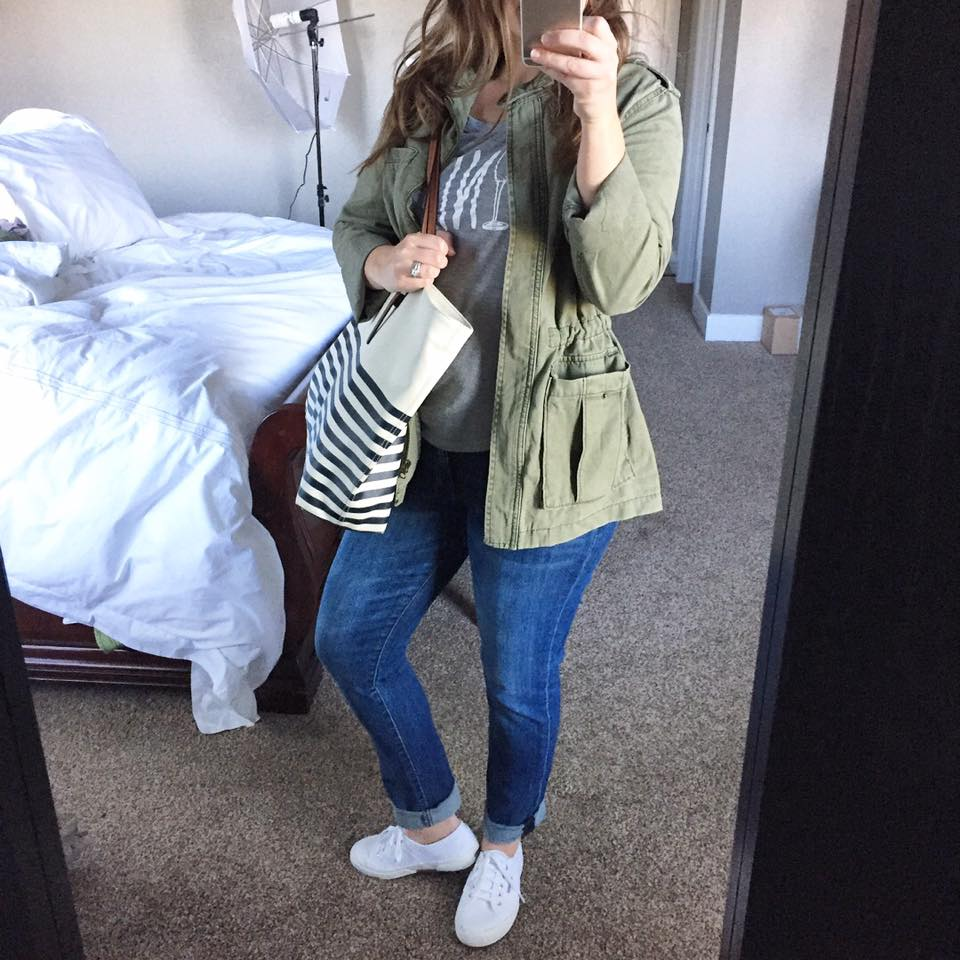 Such a cute military green trench coat!