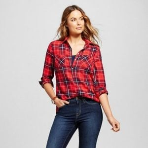 Red plaid shirt from Target perfect for fall!