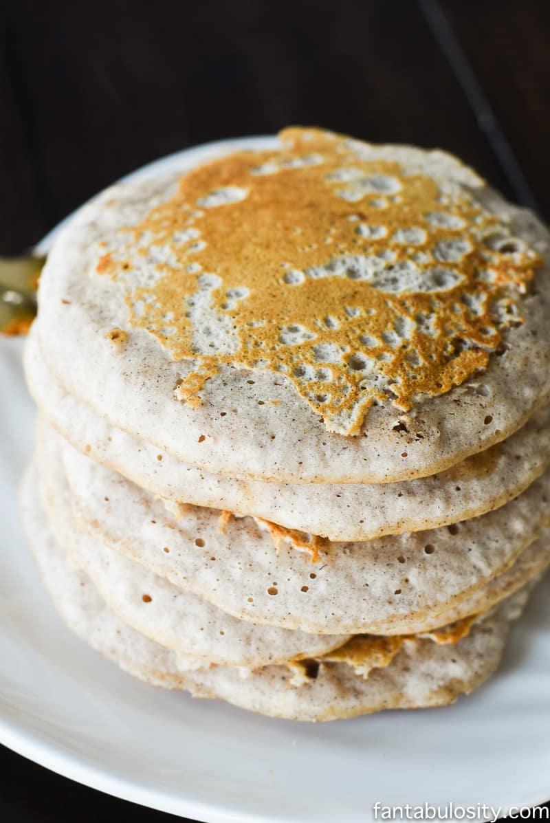 Pumpkin White Chocolate Pancakes with a White Chocolate Maple Syrup Recipe fantabulosity.com