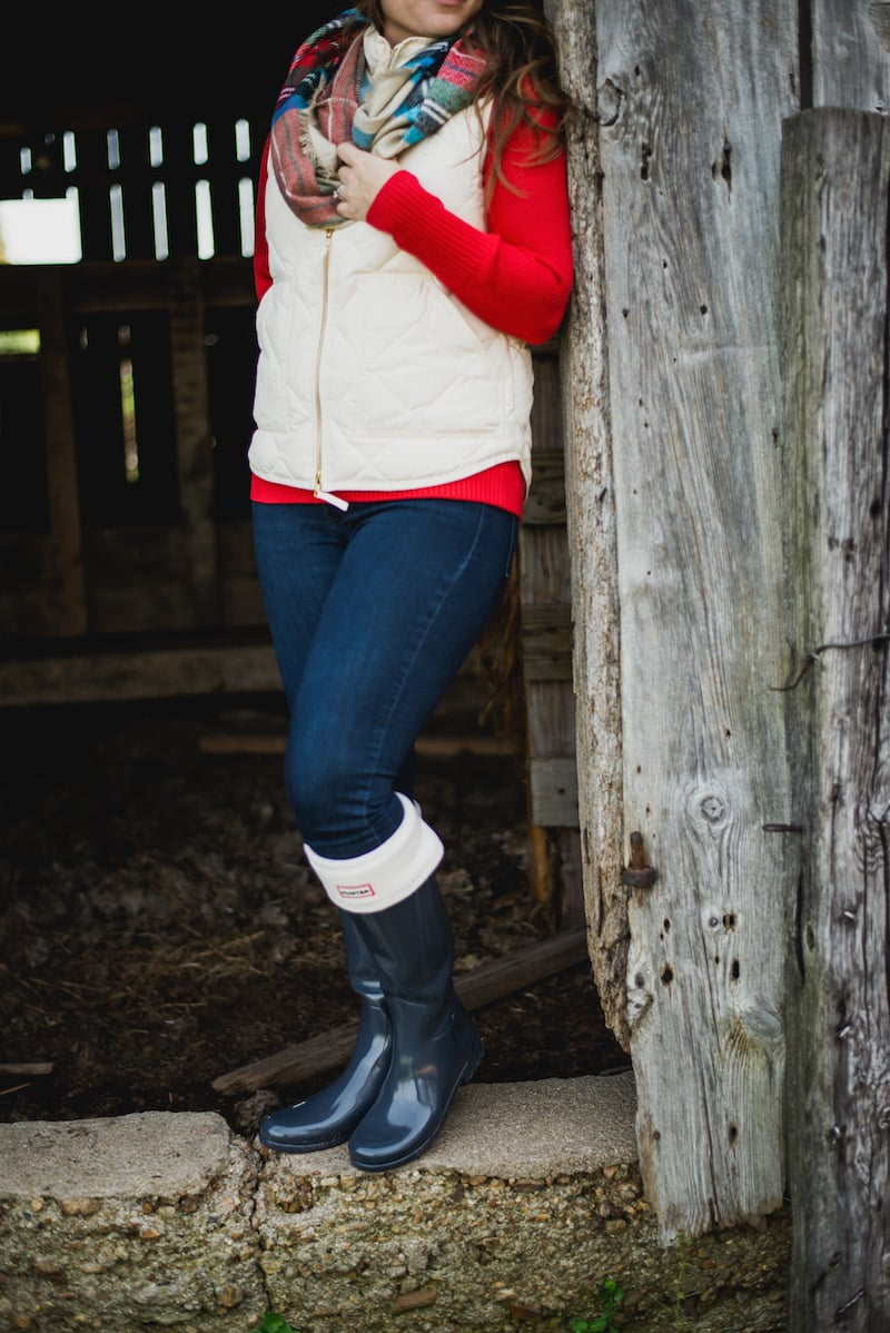 J.Crew Vests paired with Hunter Boots. One of my FAVORITE outfits in the winter! fantabulosity.com