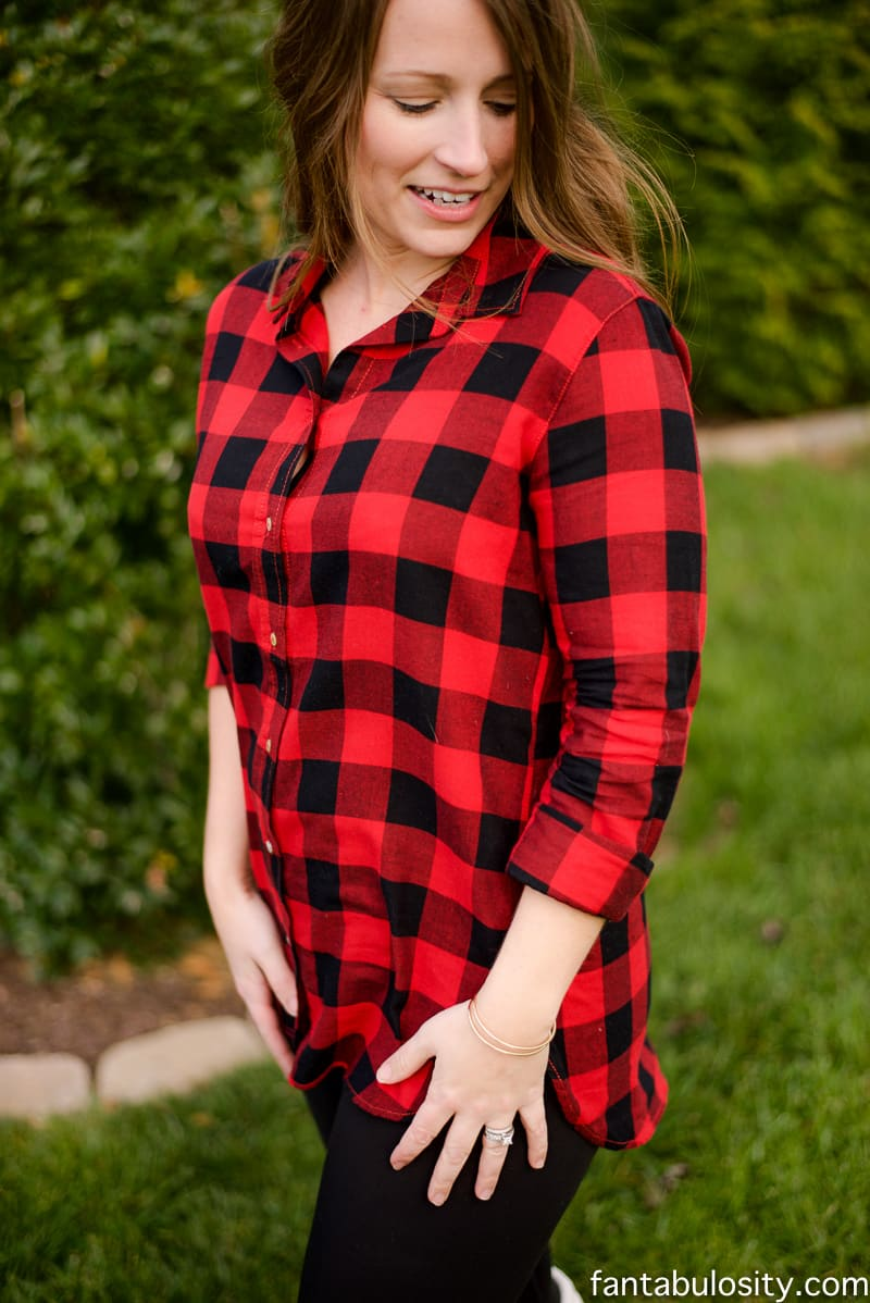 These are the BEST leggings ever. They aren't too tight around the waist (aka less love-handles), and are fleece lined but not thick. HEAVEN!! Love this red buffalo plaid shirt too! fantabulosity