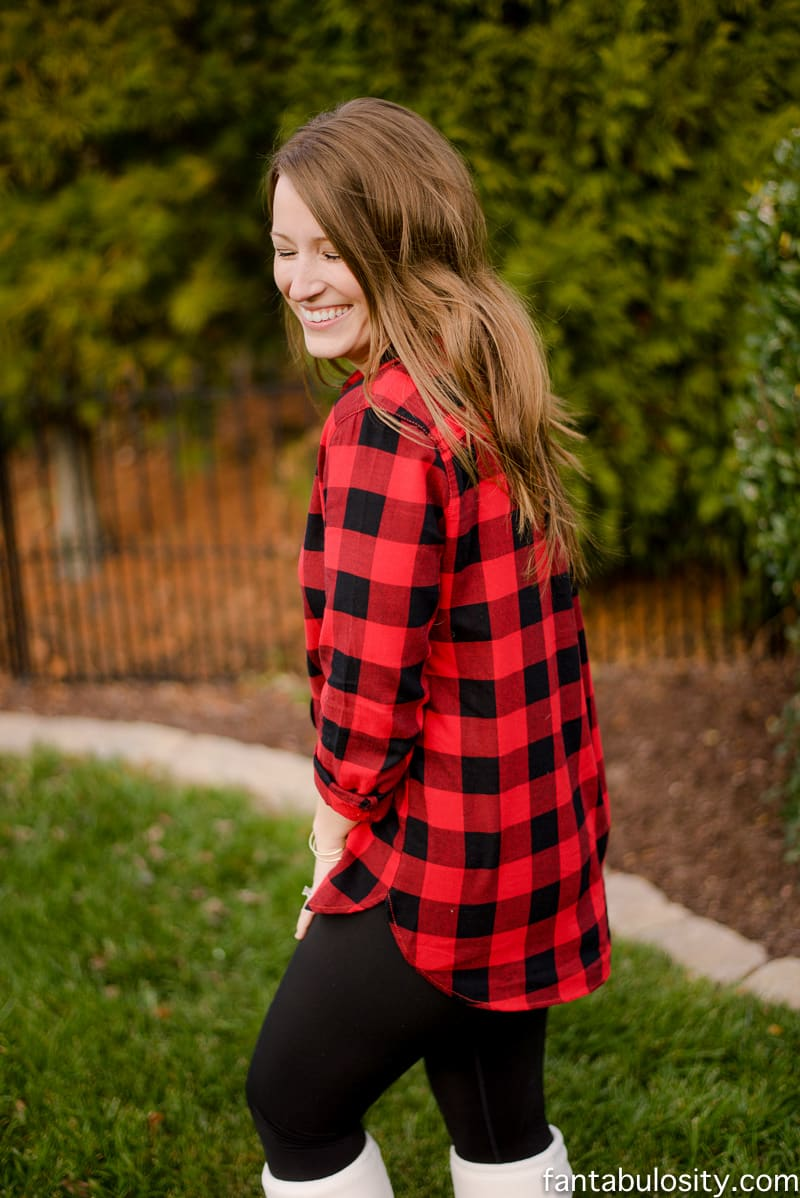 These are the BEST leggings ever. They aren't too light around the waist (aka less love-handles), and are fleece lined but not thick. HEAVEN!! Love this red buffalo plaid shirt too! fantabulosity