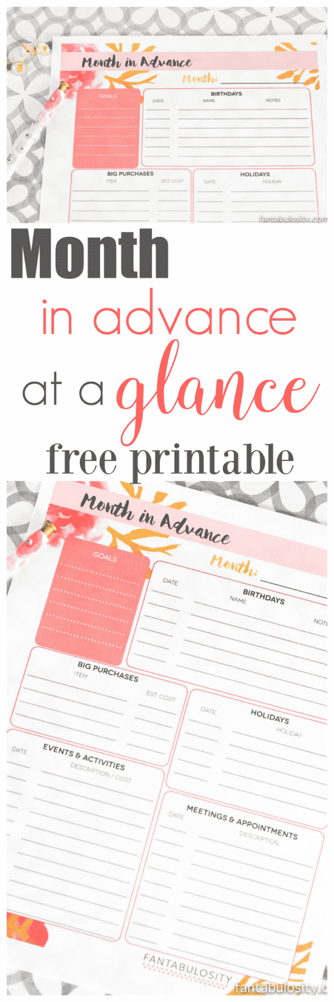 FREE Printable Month in advance, at a glance. It's great to see all of this on one sheet each month