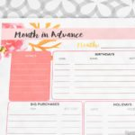 Month in Advance, at a Glance – Free Printable