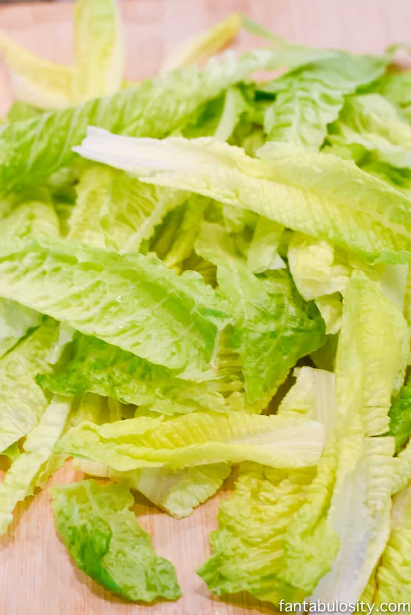 Cut romaine lettuce leaves