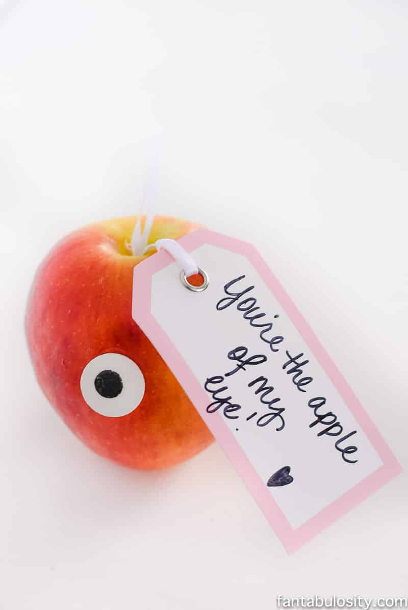 "So cute and easy! ""You're the apple of my eye,"" Valentine's Day idea for kids, husband, boyfriend, or anyone! Love this."