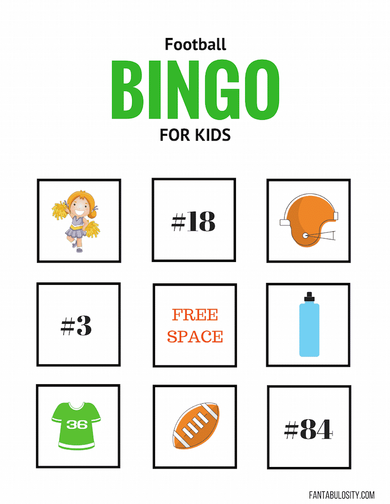 Football BINGO for kids to play at a football game!