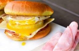 OMG YUUM!!! Ham, Pineapple, Egg and pepperjack cheese, on a Hawaiian bun!