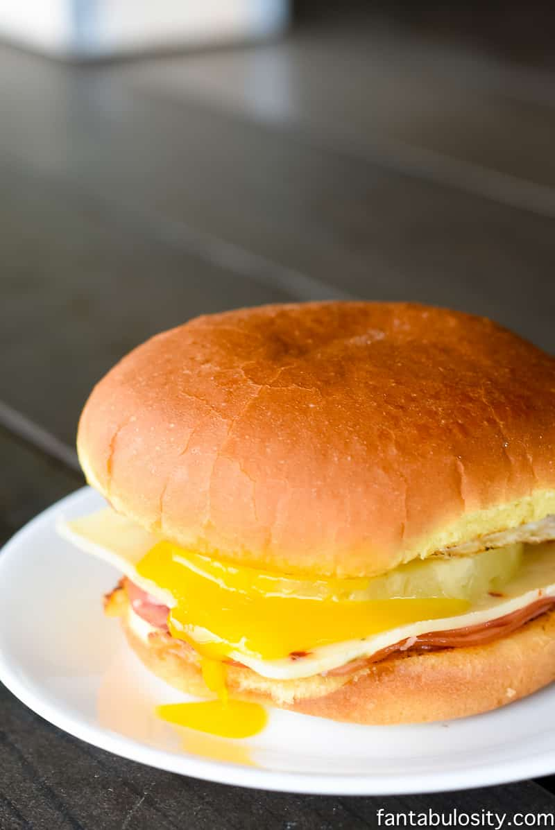 OMG YUUM!!! Ham, Pineapple, Egg and pepperjack cheese, on a Hawaiian bun!