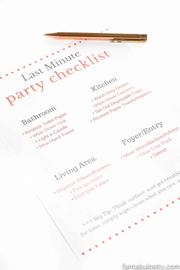 Last minute party checklist
