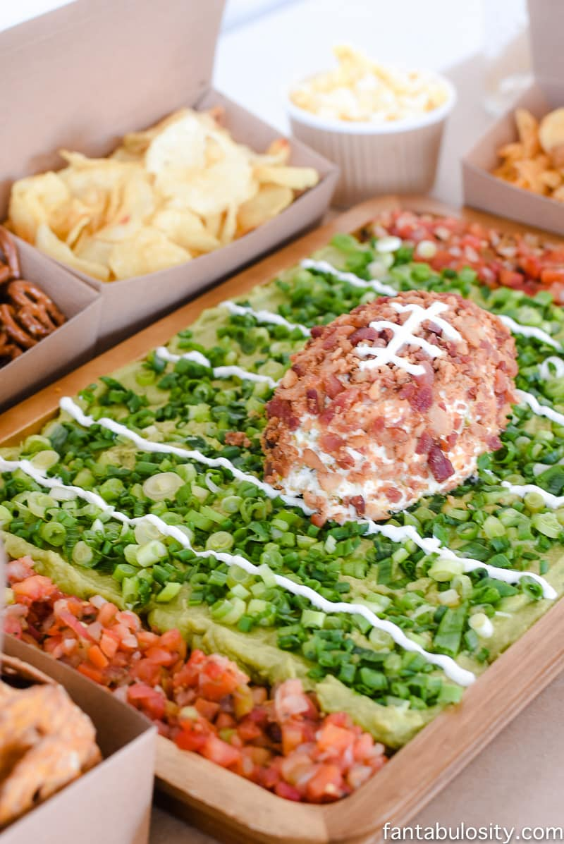 Football party food idea: football field dip with chips as the bleachers. so cute!