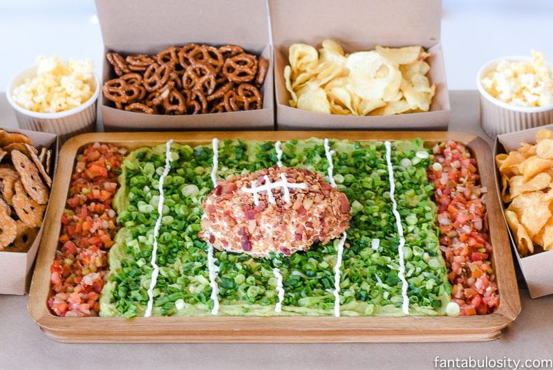 Football party appetizer: Dips & Stadium. So fun!