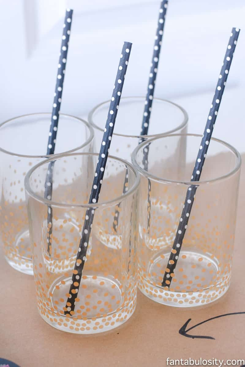 Football party ideas: drinks with black straws