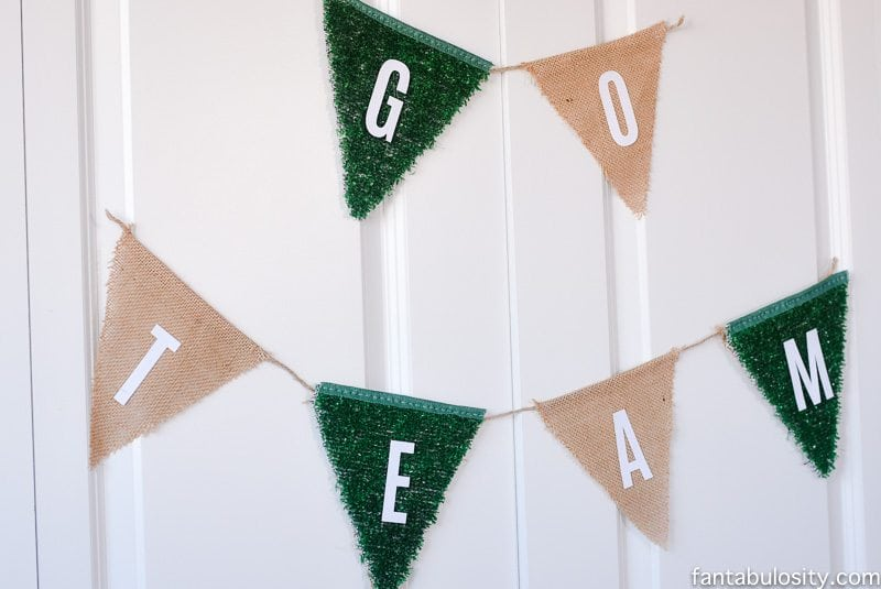 """Football Party Ideas: Banner made out of green """"turf!"""""""