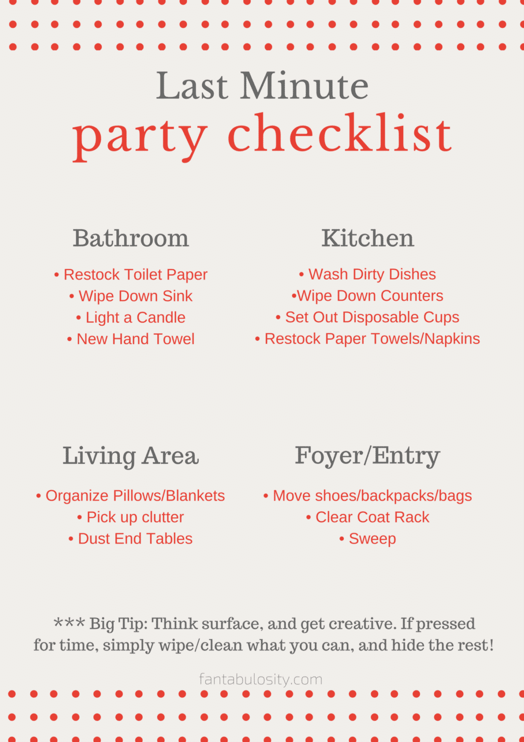 Last minute party checklist free download fantabulosity for Last minute party ideas