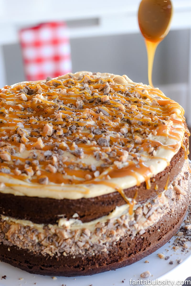Get your chocolate fix with this chocolate cake fix! Chocolate Peanut Butter Toffee Salted Caramel Cake