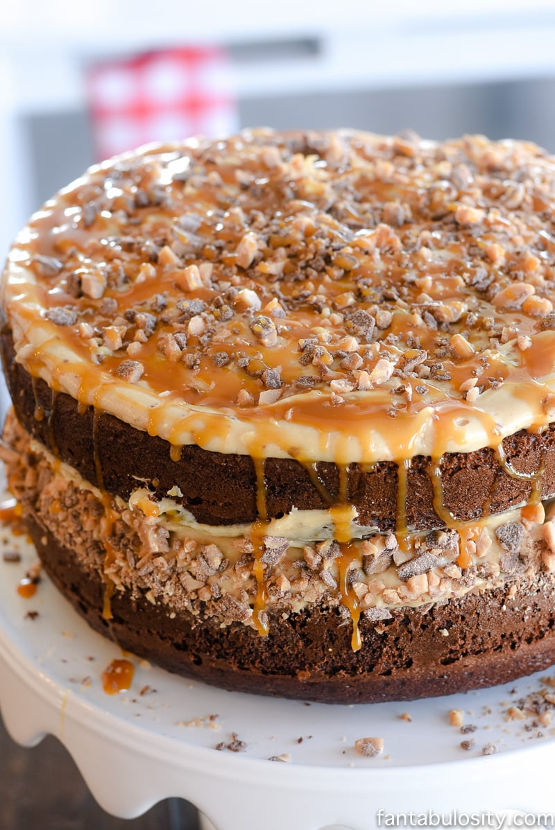 This chocolate cake recipe sounds amazing! Chocolate Peanut Butter Toffee Salted Caramel Cake