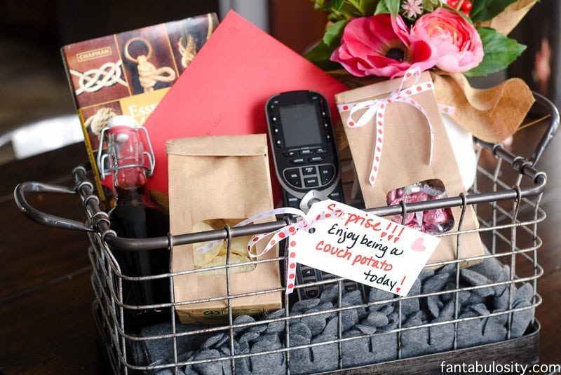 Couch potato gift basket idea for him fantabulosity