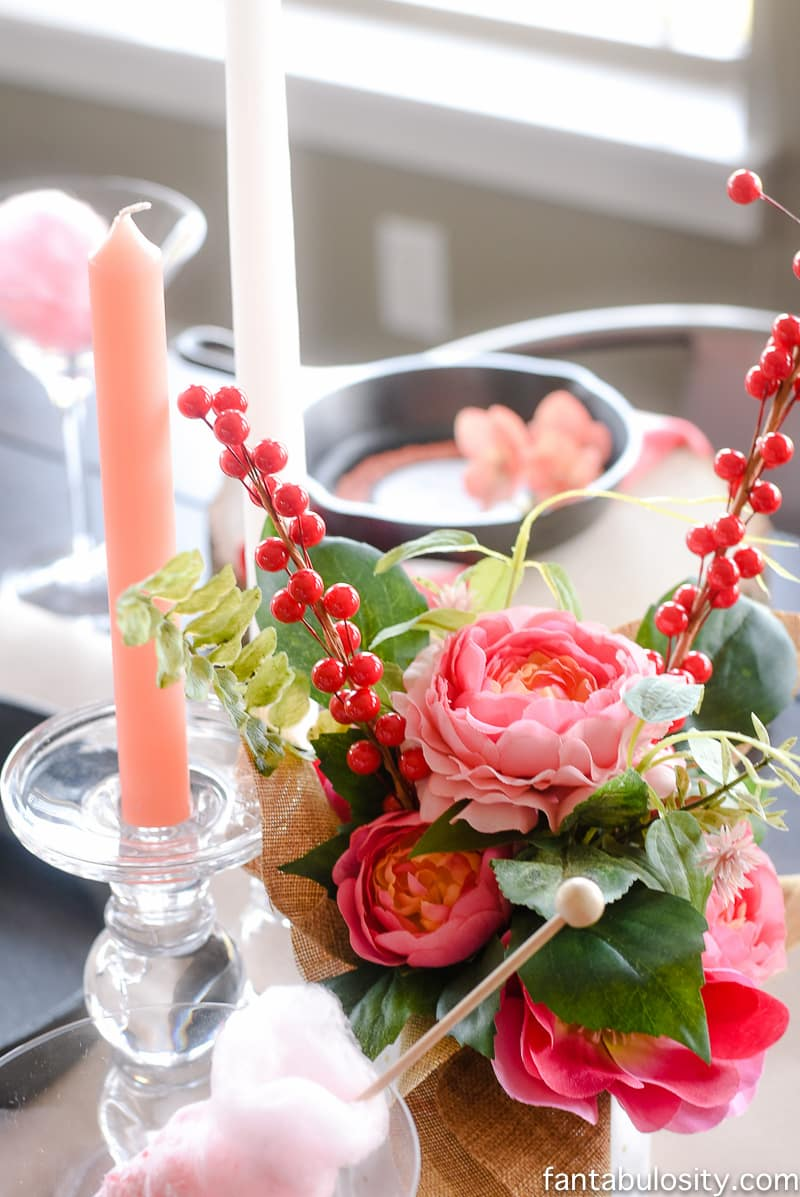 Flowers and Candles: red, pink, coral. Party Theme for Adults- Our Love is Sizzlin' Dinner Party & Dirty Cupid Game