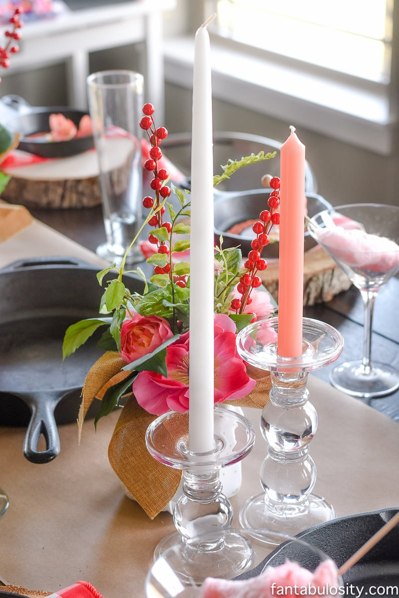White and coral candles: Party Theme for Adults- Our Love is Sizzlin' Dinner Party & Dirty Cupid Game