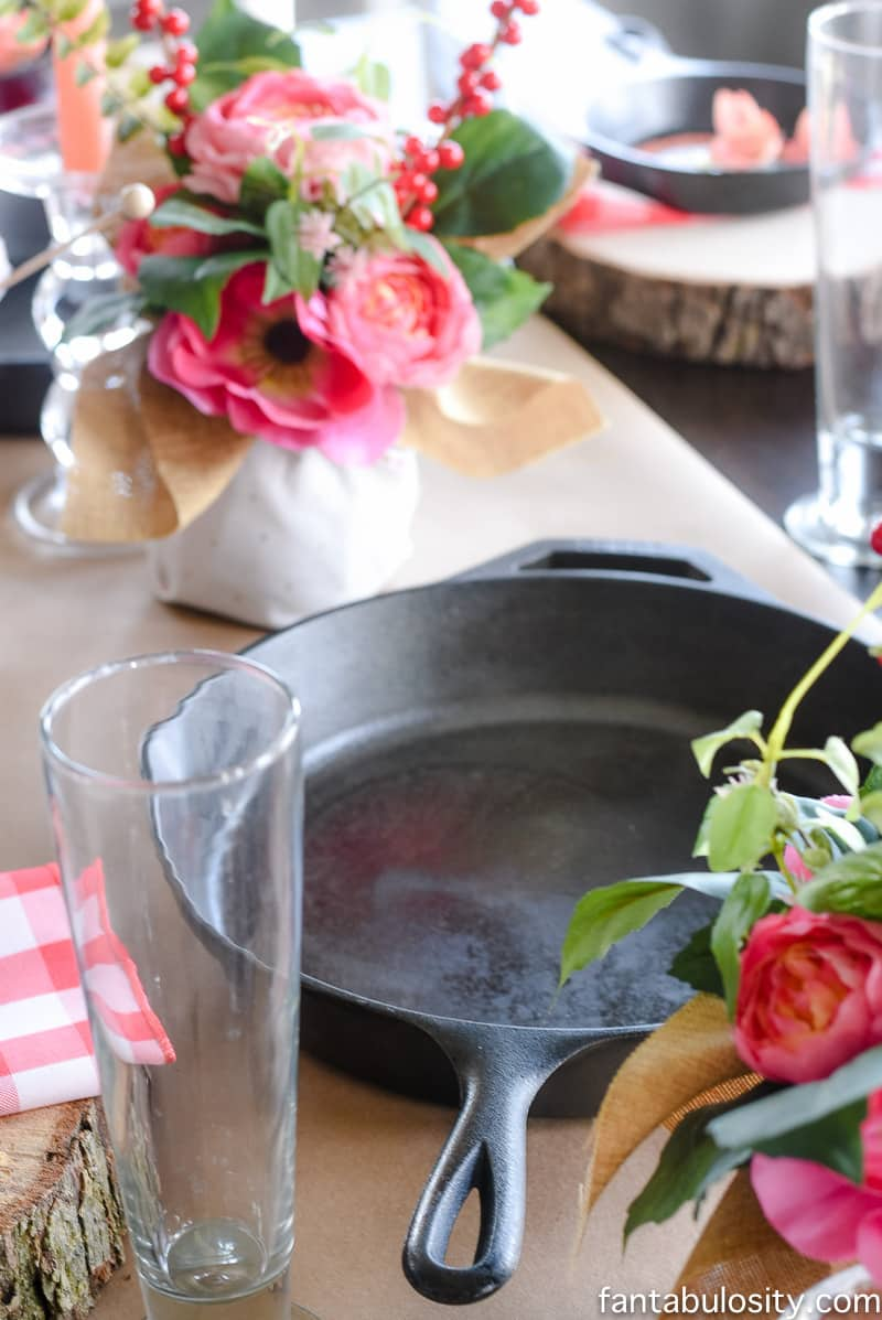 LOVE this!! Dips were served in the big cast iron skillets: Party Theme for Adults- Our Love is Sizzlin' Dinner Party & Dirty Cupid Game