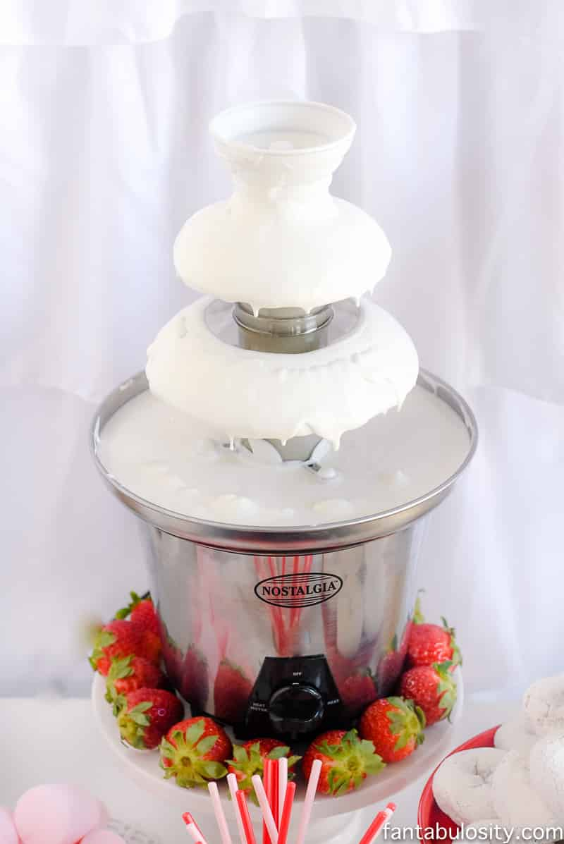 White Chocolate Fountain for a party! Chocolate Fountain Bar Ideas: A Modern, Rustic, Pink Party Display