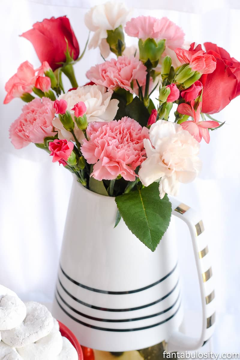 Pinks, corals, white roses for bouquet: Chocolate Fountain Bar Ideas: A Modern, Rustic, Pink Party Display