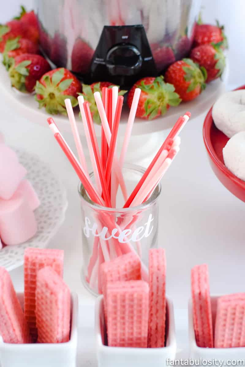chocolate fountain bar ideas rustic pink red party