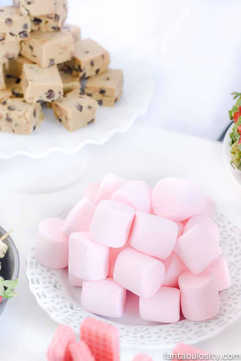 Pink marshmallows for white chocolate fountain: Chocolate Fountain Bar Ideas: A Modern, Rustic, Pink Party Display